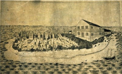 A watercolor by unknown artist about1864 of the Hopsital and Cemetery that was on Sand Key at the Torutgas. The Island was later washed away in a storm. Photo credit: Monroe County Library.