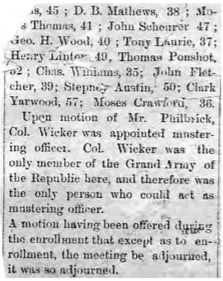 A newspaper article with the with the partial list of the G.A.R.