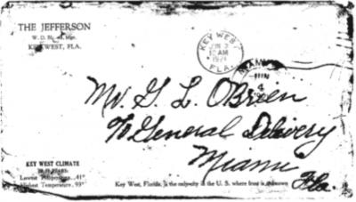 An envelope from the Jefferson Hotel used by Mrs. W.D. Cantrell. Photo credit: Monroe County Library.